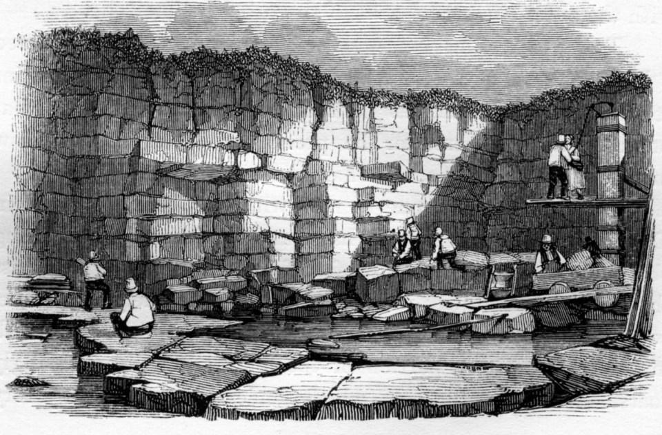 Anglingham black limestone quarry, Galway