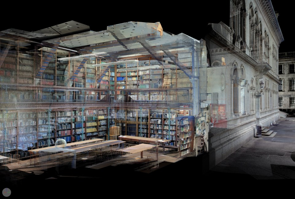 Section of the Freeman Library by MVD from a scan by BIM and Scan