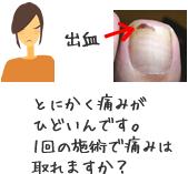 とにかく痛みがひどいんです。1回の施術で痛みは取れますか?