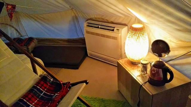 THEファームキャンプ場 リバーサイドテント エアコン