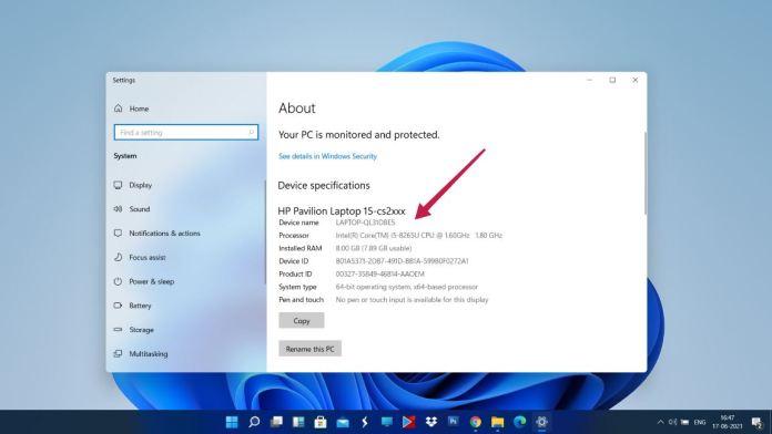 check PC specs on windows 11 PC properties