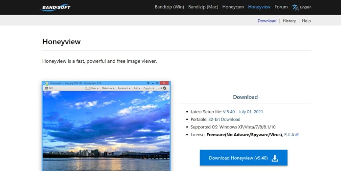 Honeyview Photo viewer for Windows 11 OS