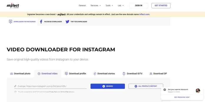 Download Instagram Reels on Android, iPhone, and PC using Inflact
