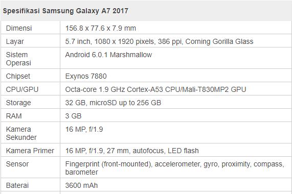 Spesifikasi samsung galaxy A 7 2017
