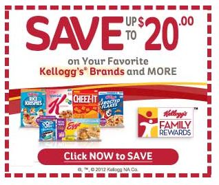 Save up to twenty dollars on your favorite Kelloggs Brands and More