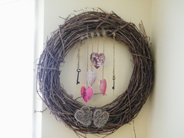 Shabby Chic Homemade Valentines Day Wreath Craft