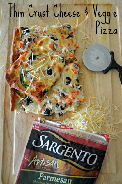 Thin Crust Cheese and Veggie Pizza Pin