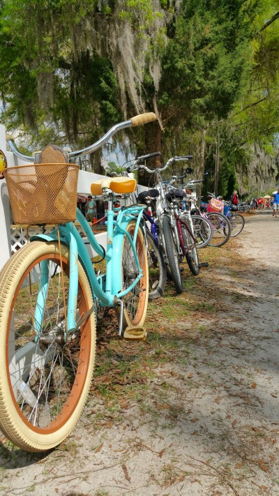 Sometimes the walk from the shower to the campground can be a tad far for some. No worries, Suwannee is bike-friendly. There are many a festival-goer who pedal through the park as well as wagon, golf cart and use the shoe leather express.