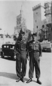 I am on left with buddy in Avignon, France, October 7, 1945