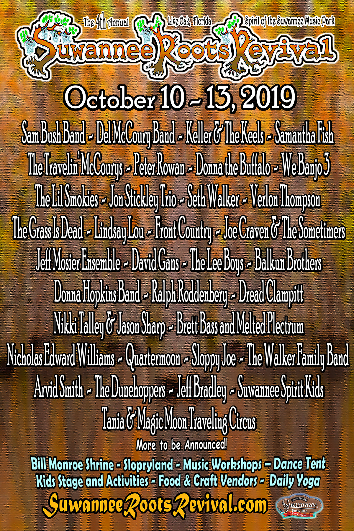 Suwannee Roots Revival Pre-Party & Daily Schedule