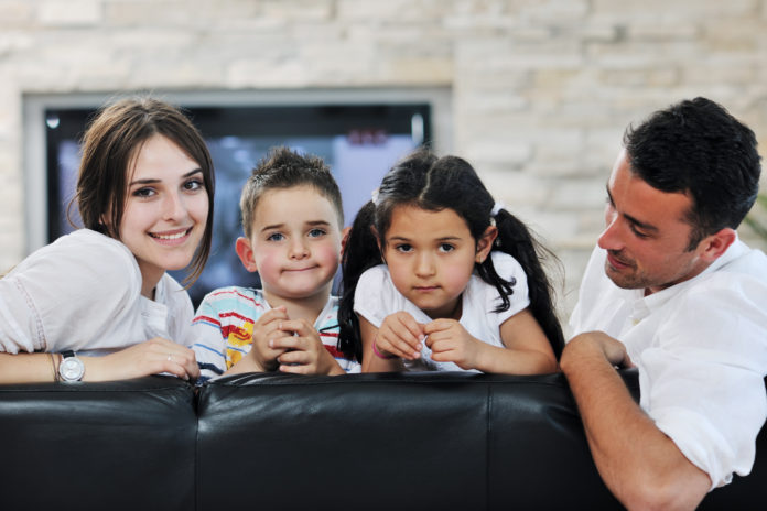 young family at home