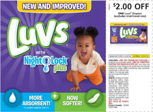 Luvs Save money on diapers