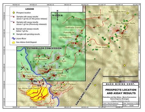 Prospect locations and assay results potrerillos and san albino murra 30k Sept 4, 2020