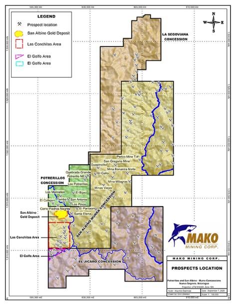 Regional exploration program prospects location 100k Sept 7, 2020