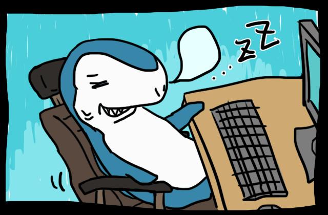 椅子で心地よく眠る