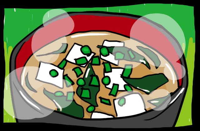 ネギとワカメの味噌汁