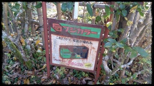 香嵐渓の写ルンです看板