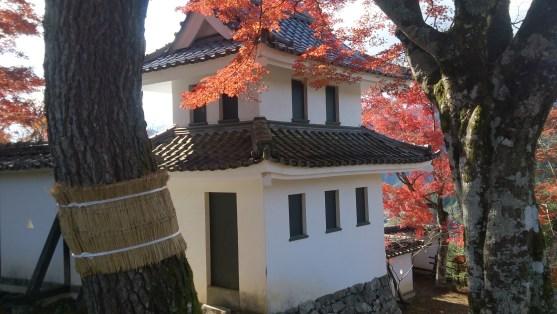 郡上八幡城の櫓と紅葉