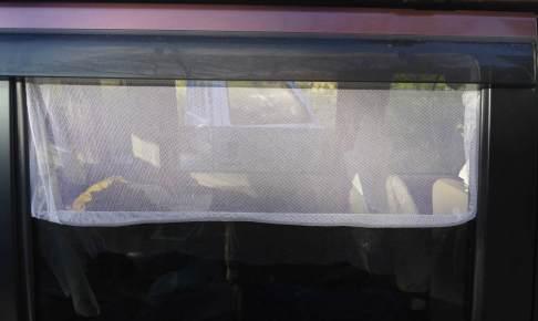 車中泊で網戸をつけるには網戸用ゴムと蚊帳網で Mosquito net on car windows