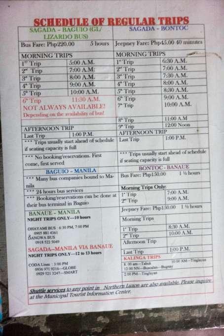 Sagada バス時刻表