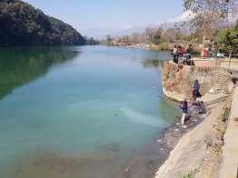 ダムサイドの湖畔
