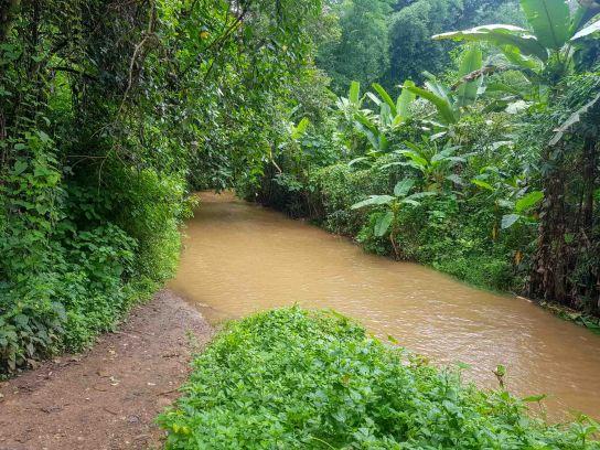 Mae yen 滝へのハイキング道入り口の渡渉川、濁っている雨季