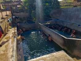 ドツボ式温泉プール。汚そうで様子見