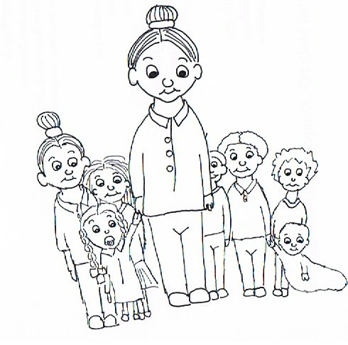 Frau Kinderviel mit 7 Kindern.
