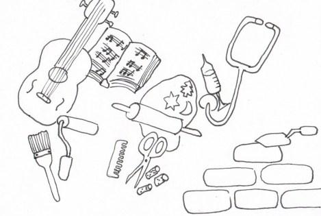 Verschiedene Materialien, die für verschiedene Berufe benötigt werden