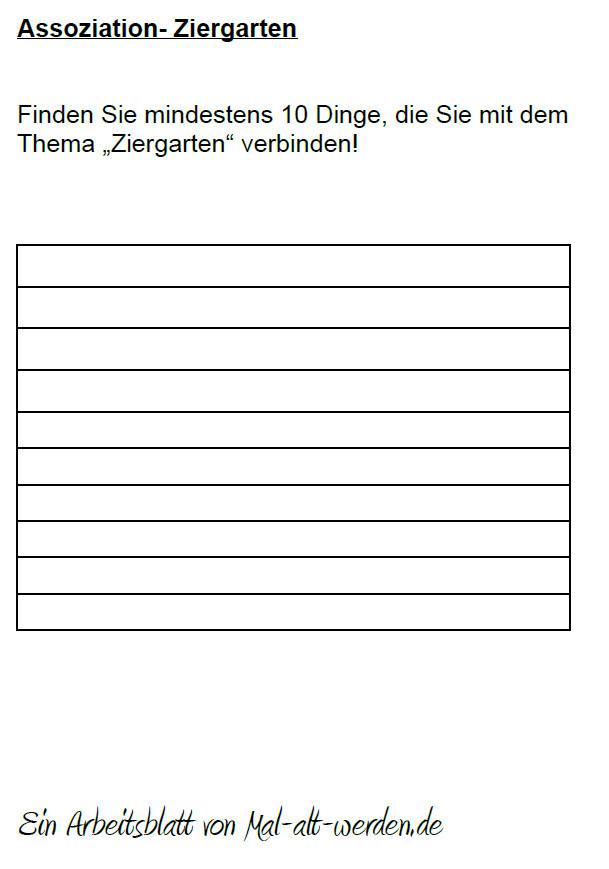 """Arbeitsblatt-  """"Assoziation"""" zum Thema Ziergarten"""
