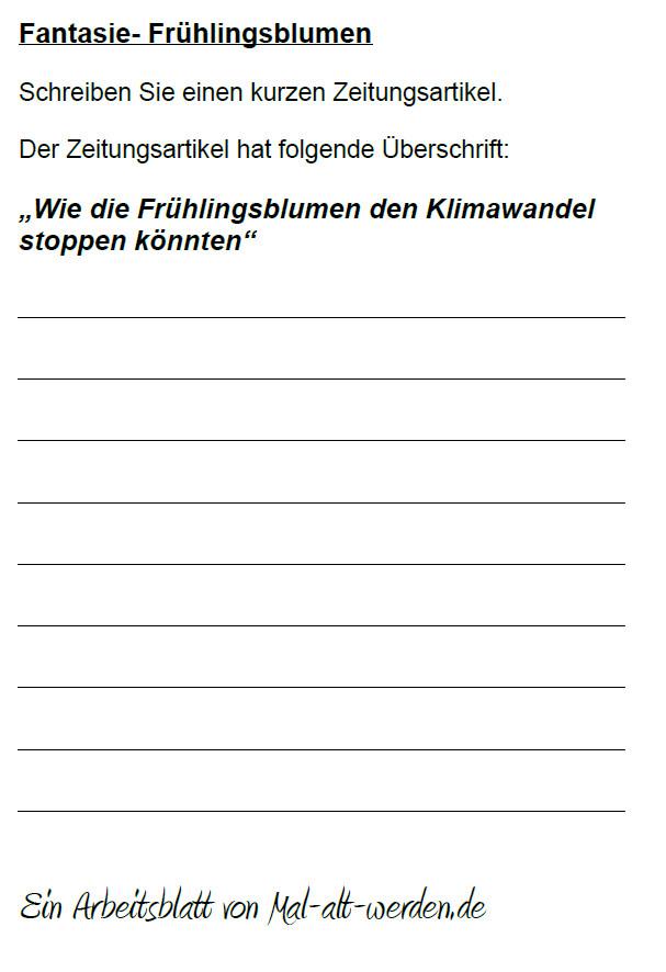 """Arbeitsblatt- """"Fantasie"""" zum Thema Frühlingsblumen als PDF"""