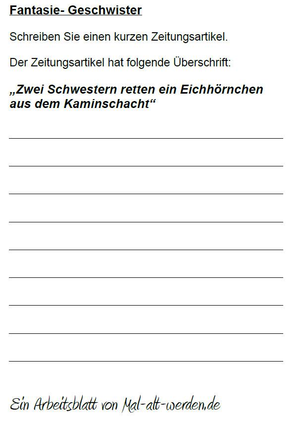 """Arbeitsblatt- """"Fantasie"""" zum Thema Geschwister"""