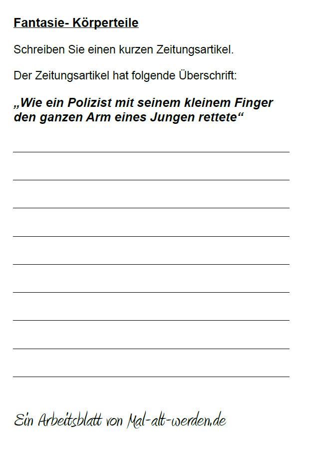 """Arbeitsblatt- """"Fantasie"""" zum Thema Körperteile"""