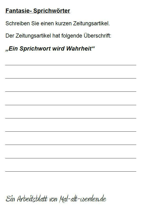 """Arbeitsblatt- """"Fantasie"""" zum Thema Sprichwörter"""
