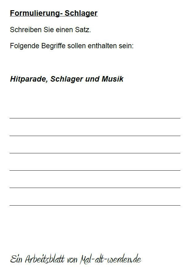 """Arbeitsblatt- """"Formulierung"""" zum Thema Schlager"""