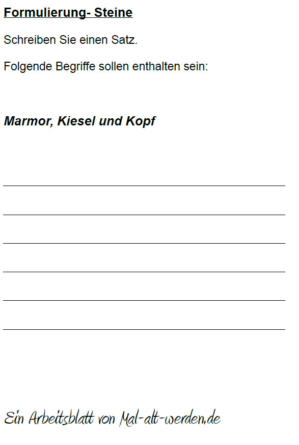 """Arbeitsblatt- """"Formulierung"""" zum Thema Steine"""