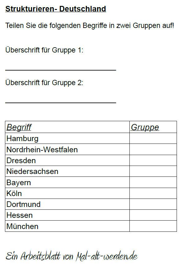 """Arbeitsblatt- """"Strukturieren"""" zum Thema Deutschland"""