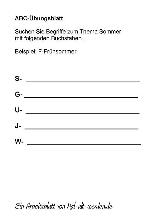 Sommer Abc Arbeitsblatt : Abc Übungsblatt sommer