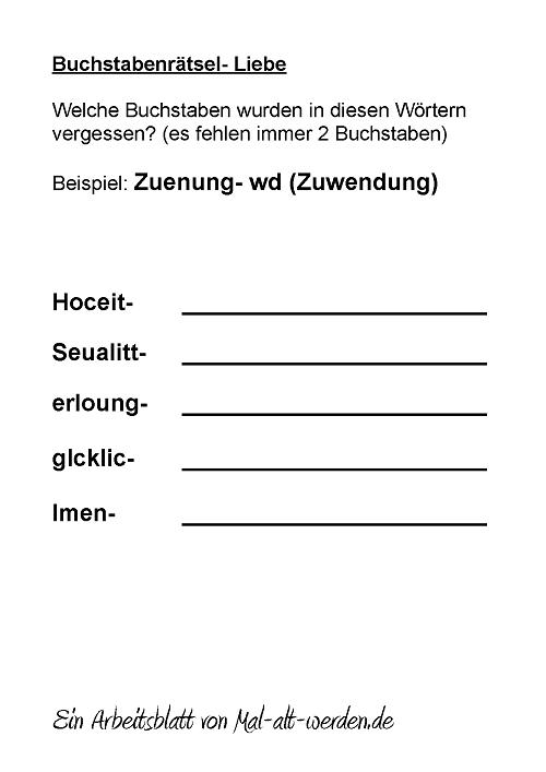 Ein Buchstabenrätsel Für Senioren Zum Thema Liebe