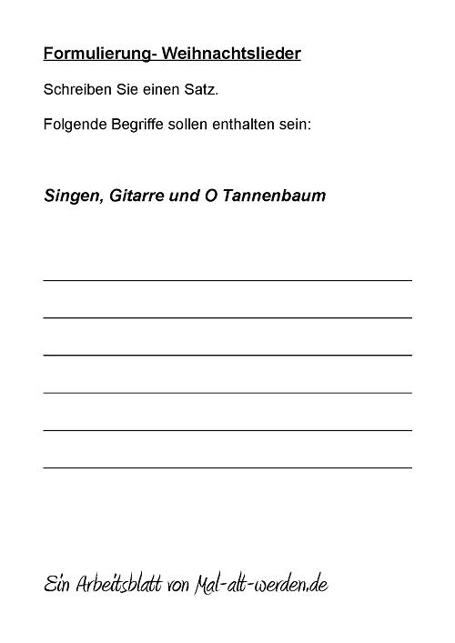 Formulierung- Ein Arbeitsblatt zum Thema Weihnachtslieder