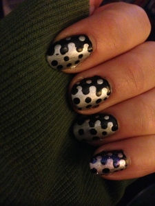 Silver to black spots Nails