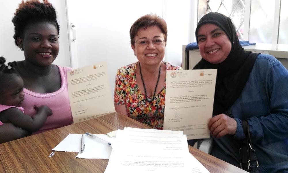 Entrega de certificados en clases de español