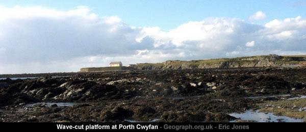 Wave-cut platform at Porth Cwyfan