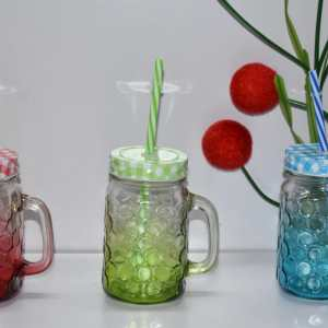 Mason Jar Mugs with Handle and Straw