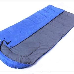 Envelope sleeping bag with a cap