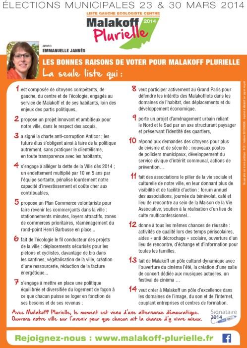 Les 14 bonnes raisons de voter Malakoff Plurielle