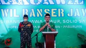 Foto : Ketua PW Ansor Jatim, Gus Syafik Sauqi saat sampaikan ambutan pembukaan rakorwil baser jatim