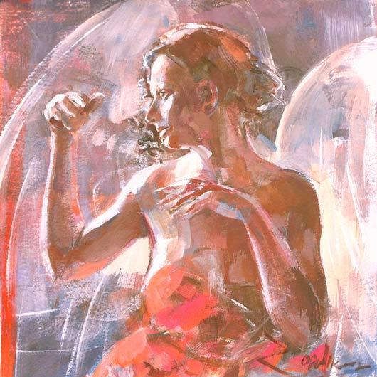 Anioł 119a, akryl, gwasz na kartonie
