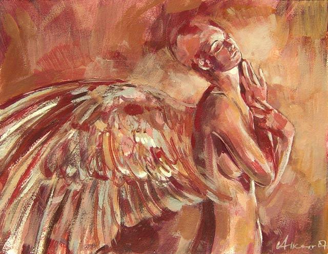 Anioł 83a, technika mieszana, karton