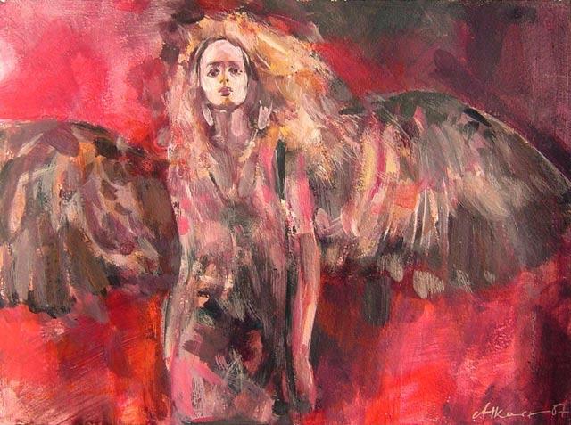Anioł 91a, technika mieszana, karton